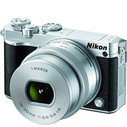 Nikon 1 J5 Digital Camera w/ NIKKOR 10-30mm f/3.5-5.6 PD Zoom Lens - Silver